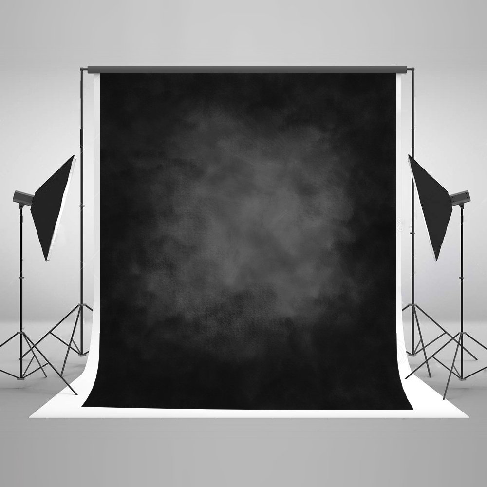 Kate 10ft(W)x10ft(H) Black Abstract Photography Backdrop Texture Microfiber Old Master Backdrop Professional Head Shot Portrait Photo Background by Kate