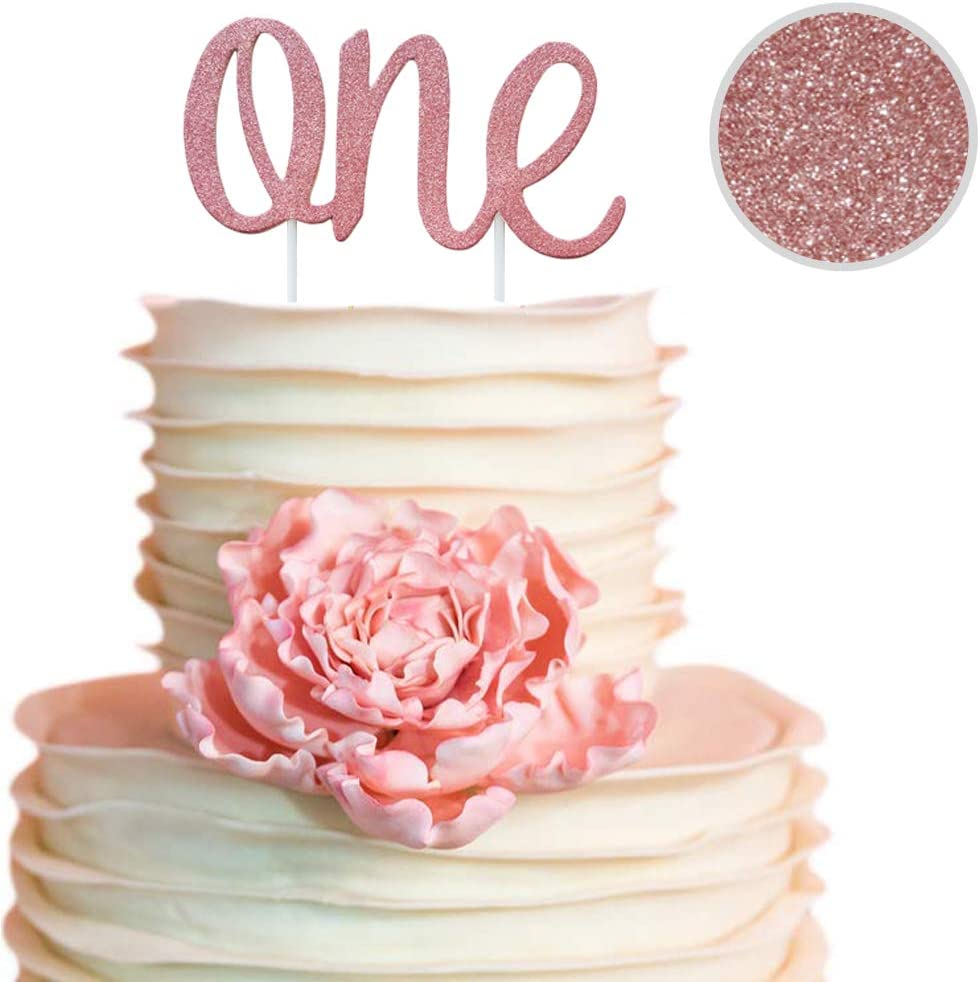 Incredible Amazon Com One Rose Gold Cake Topper For Daughters 1St Birthday Personalised Birthday Cards Paralily Jamesorg
