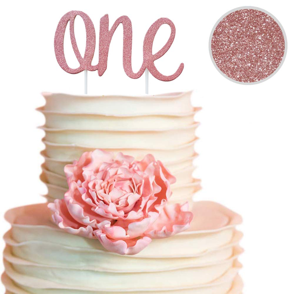 ONE Rose Gold Cake Topper for Daughters 1st Birthday Decorations for Girls! Make her day and cake special with a double sided rose gold cake topper on ...