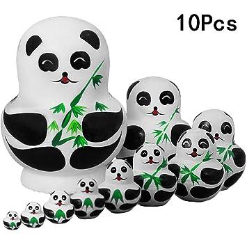 Puppen & Zubehör 10 stück panda holz verschachtelung puppe russische babuschka matryoshka
