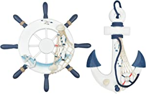 "Meching Nautical Decor 2 Pack 13"" Wooden Ship Wheel and Wood Anchor with Rope Nautical Boat Steering Rudder Wall Decor Door Hanging Ornament"