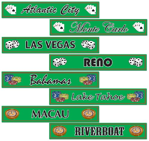 Gambling Destination Street Sign Cutouts Party Accessory (1 count) (4/Pkg)