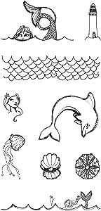 Spellbinders Jane Davenport Tin of Mermaids Wood Mounted Rubber Stamps