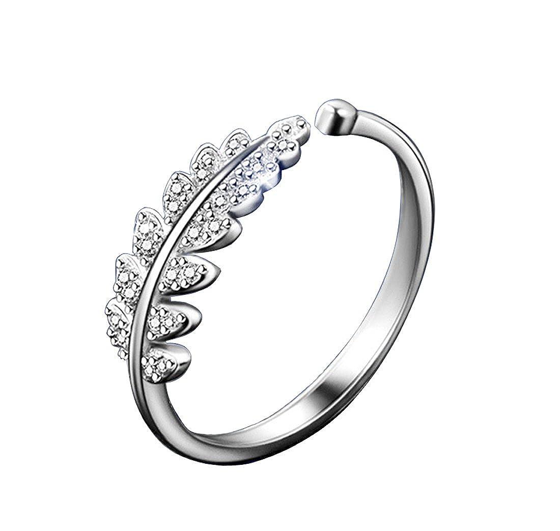 925 Sterling Silver Ring Ladies Women Girls Adjustable Crystal Diamond Elegant Open Leaves Ring Jewelry 2008