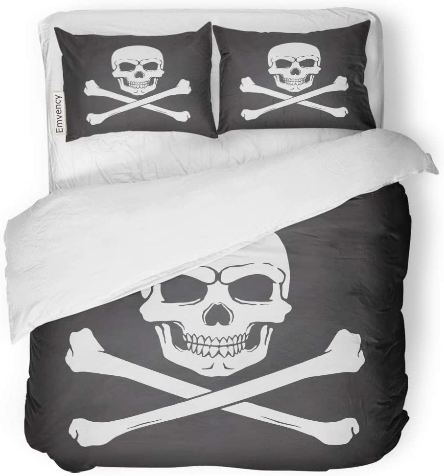 Emvency Decor Duvet Cover Set Twin Size Silhouette of Skull Jolly Roger with Crossbones at The Bottom on Blackboard 3 Piece Brushed Microfiber Fabric Print Bedding Set Cover