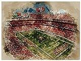 San Francisco 49ers Poster Watercolor Art Print 12x16 Wall Decor