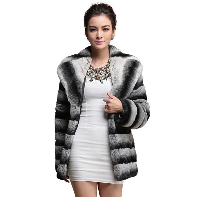 Fur Story 16163 Medio Largo Rex Abrigo de Piel de Conejo Real de la Mujer con Cuello Normal Chinchilla 42: Amazon.es: Ropa y accesorios