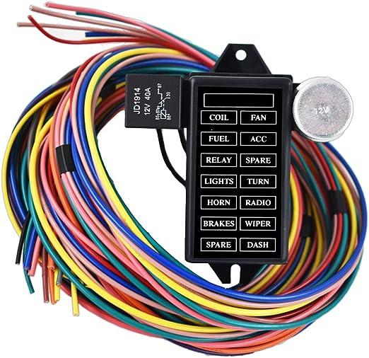 Amazon.com: labwork-parts New 14 Circuit Fuse Universal Wire Harness Muscle  Car Hot Rod Street Rat XL: AutomotiveAmazon.com