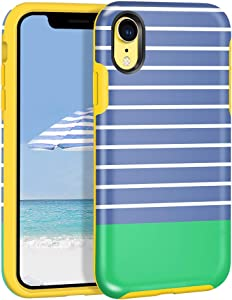 Maxcury Case for Apple iPhone XR 6.1 Inch, Slim Stylish Anti-Scratch Shock Absorption Slim Hard Shell with Soft Rubber Bumper Protective Case Cover for iPhone XR (Stripe - Blue Green)