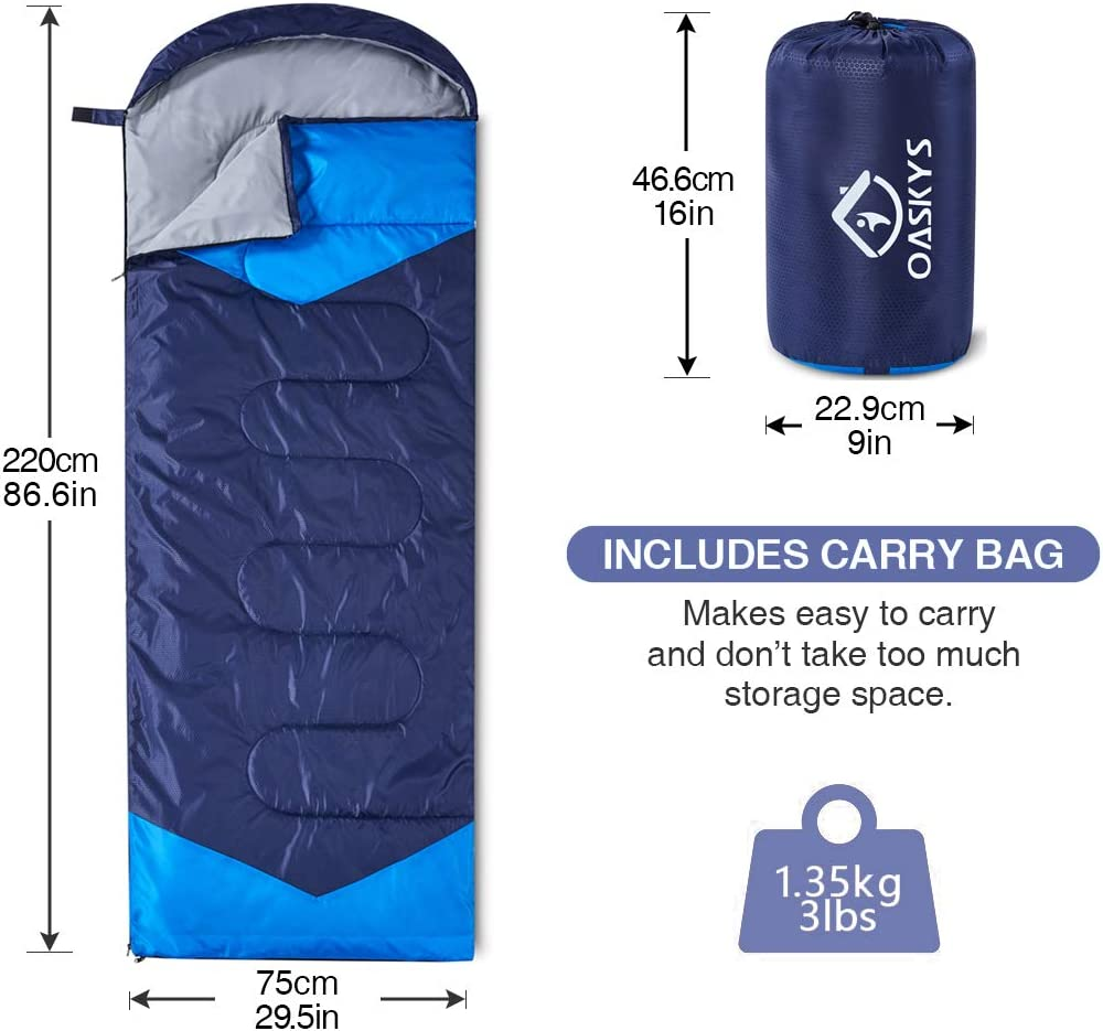Lightweight Summer oaskys Camping Sleeping Bag 3 Season Warm /& Cool Weather Spring Camping Gear Equipment Waterproof for Adults /& Kids Traveling Fall and Outdoors