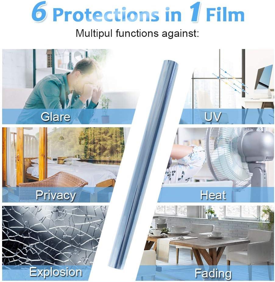 Homein Film Miroir Fen/être Adh/ésif 44.5x200CM Film occultant Fen/être Anti-Regard Anti 99/% UV sans Tain pour Vitre Argent Film Opaque Fenetre D/écoratif pour Maison Bureau Salle de Bain