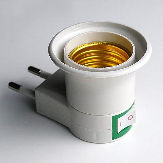 EU Plug - Adaptador de bombillas LED Adaptador de casquillo E27 resistente al calor resistente al fuego y se convierte en casquillo de rosca E27