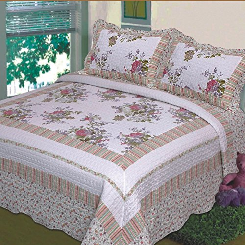 Fancy Collection 3pc Bedspread Bed Cover Floral Off White Green Purple Green Pink King California King Over Size 118 X106