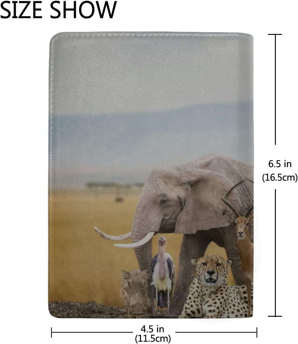 Large Group Of African Animals Together Blocking Print Passport Holder Cover Case Travel Luggage Passport Wallet Card Holder Made With Leather For Men Women Kids Family