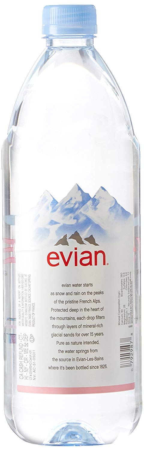 evian bgtr Natural Spring Water (One Case of 12 Individual Bottles, Each Bottle is 1 Liter) Naturally Filtered Spring Water in Large Bottles 4 Cases (48 Count) by evian (Image #2)