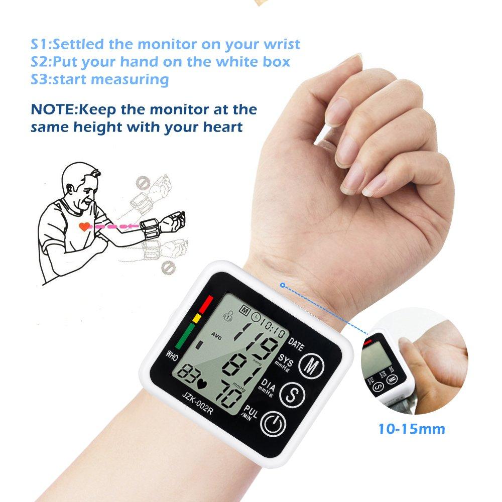 Monitor eléctrico esfigmomanómetro Senweit digital de muñeca con pantalla LCD y brazalete ancho para cuidado personal para medir el pulso y la presión ...
