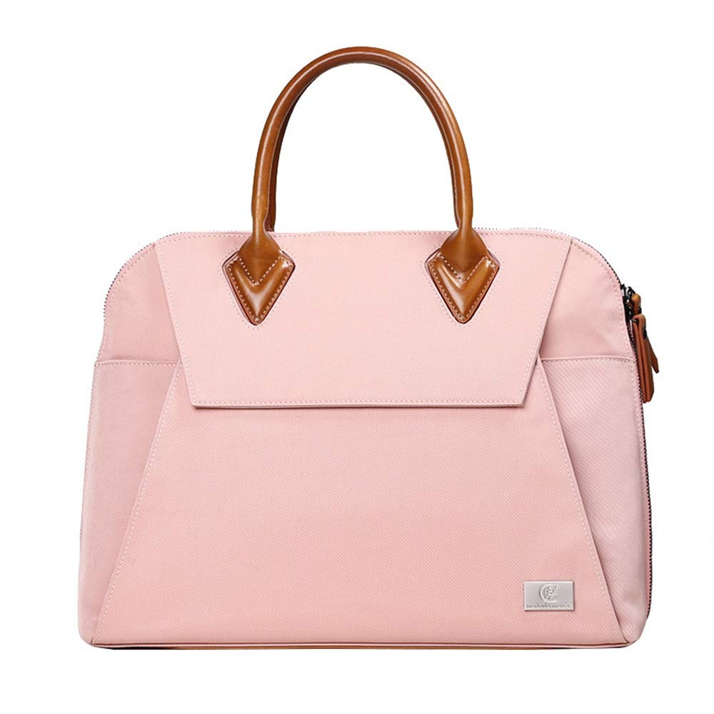 FeliciaJuan Handmade Leather Briefcase Mens Messenger Bag Waterproof Canvas Computer Laptop Briefcase Vintage Retro Canvas Large Satchel Shoulder Bag (Color : Pink)
