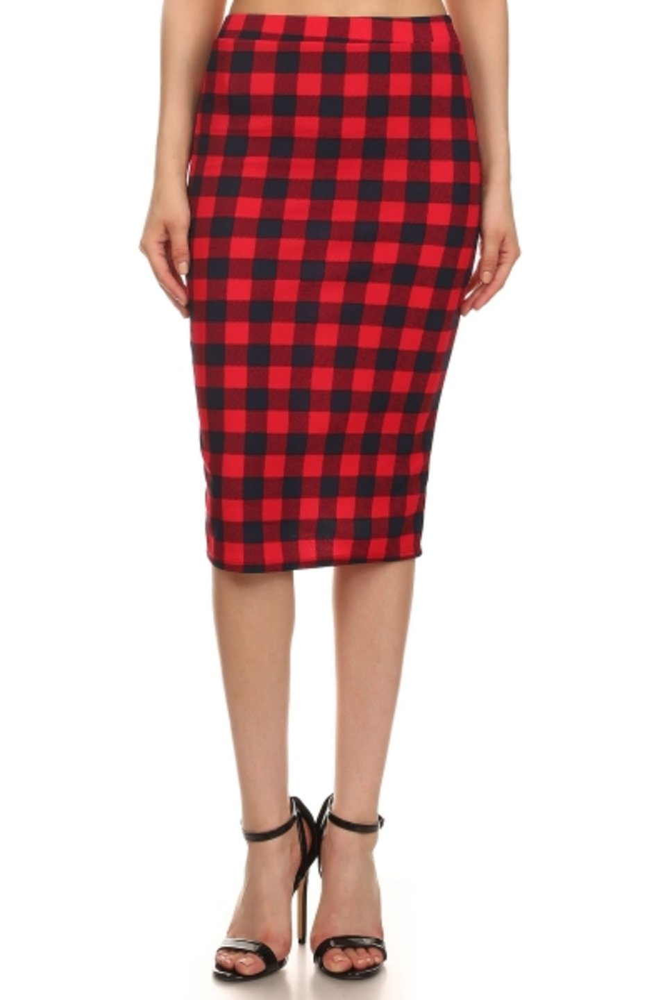 2LUV Plus Women's Dressy Professional Knee Length Pencil Skirt Red & Black 3XL (S170 PLA RD-X)