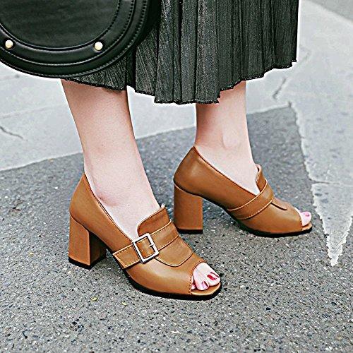 Charme Voet Dames Mode Peep Toe Dikke Pumps Pumps Schoenen Bruin