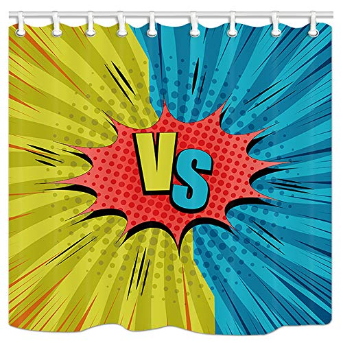 Blue Vs Wallpaper Red - DYNH Humor Comic Vs Decor Collection, Two Opposite Yellow and Blue Sides Red Speech Bubble Rays Radial Effects, Fabric Bathroom Shower Curtain Mildew Resistant, 69X84 Inches Bath Curtains with Rings