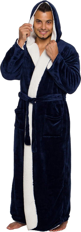 Ross Michaels Mens Sherpa-Lined Hooded Long Bathrobe Full Length Luxury Plush Big /& Tall Robe
