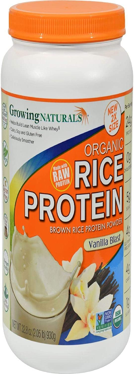 Growing Naturals Organic Rice Protein Powder, Vanilla Blast, 32.8 Ounce, Brown, 2.05 Pound (Pack of 1) (10010): Grocery & Gourmet Food