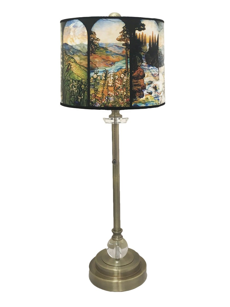 Royal Designs 28 Crystal and Antique Brass Buffet Lamp with Four Seasons Stained Glass Design Hard Back Lamp Shade