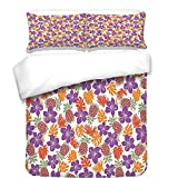 iPrint Duvet Cover Set,Pineapple,Lively Colored Print Natural Leaves Hibiscus Flowers Pineapples Tropic Hawaii,Multicolor,Best Bedding Gifts for Family Or Friends