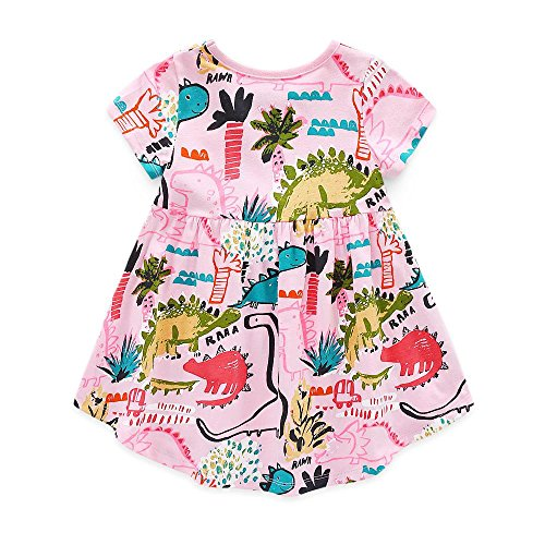 Coralup Little Girls Cotton Casual Dress(3-4 Years,Pink (Dancing Dinosaurs)