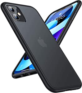 TORRAS Shockproof Compatible for iPhone 11 Case, [6FT Military Grade Drop Protection] Translucent Hard Back with Silicone Bumper, Slim Non-Slip iPhone 11 Phone Case (6.1''), Frost Black