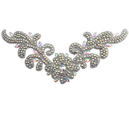 Rhinestone Diamante Beaded Belt Applique Crystal Bridal Wedding Dress Sash  Belt Patch Clothes Embellishments Sew Iron 7822da77693e