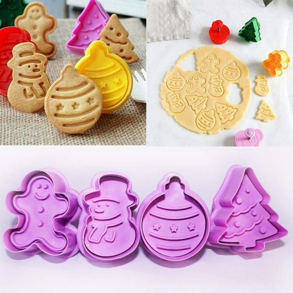 Profusion circle 4pcs Christmas Tree Snowman Cookie Biscuit Fondant Mold DIY Baking Tools
