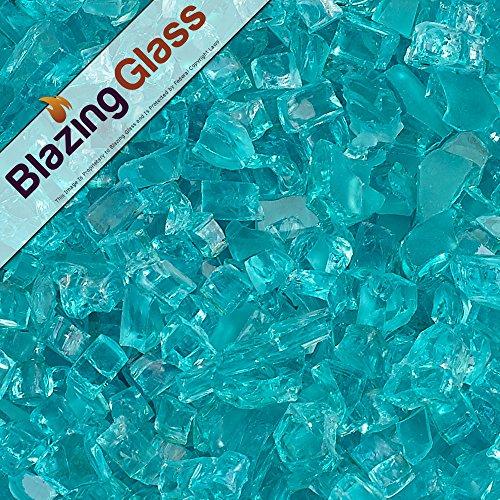 Blazing Fireglass 20-Pound Fire Glass with Fireplace Glass and Fire Pit Glass, 1/4-Inch, Azuria