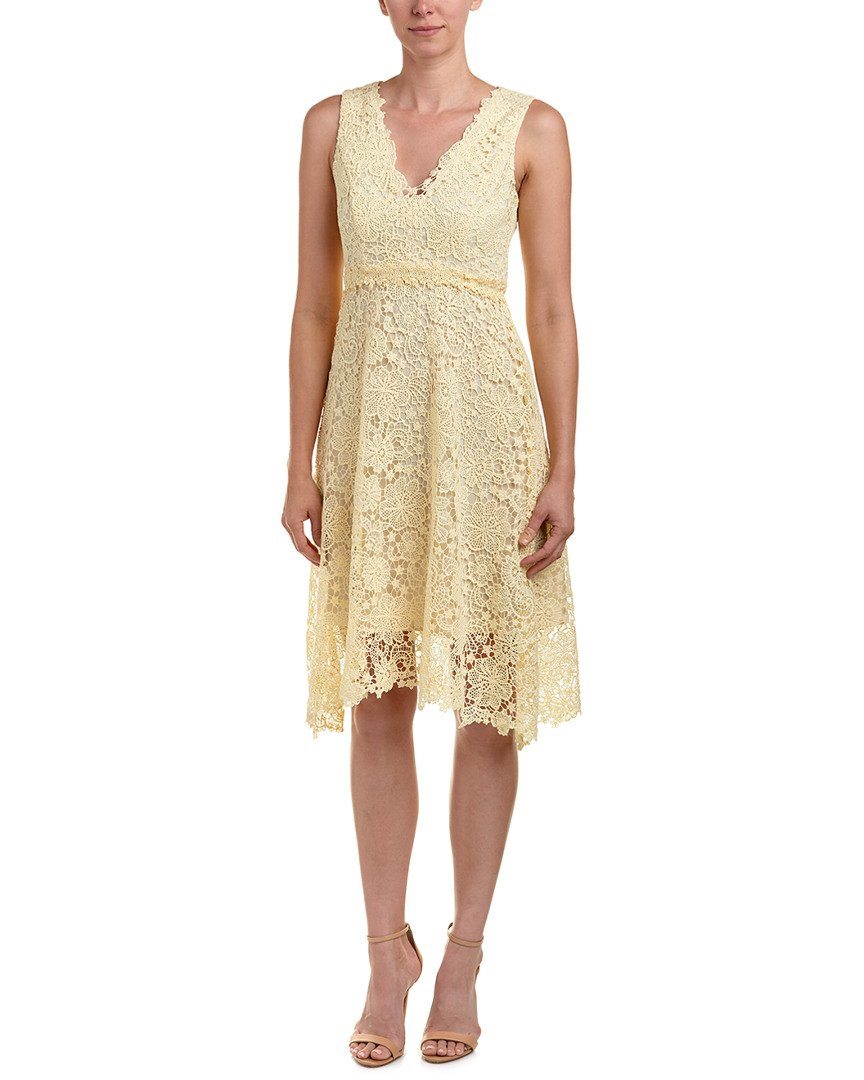 Donna Morgan Women's V-Neck Lace Midi Dress, Pale Yellow, 12