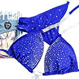 Pro Handmade Designer Competition Bikini Suit For Women | NPC IFBB Crystal Quick Ship Posing Suit | Brazilian Scrunch Bikini | Sapphire Blue (A-B-C/Hips 34''-37'', Sapphire Blue)