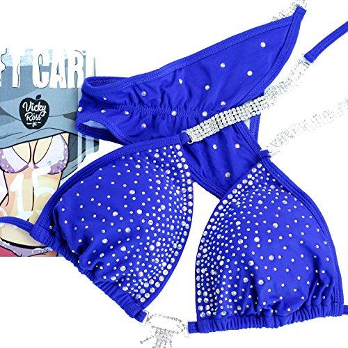 Vicky Ross Fit Competition Bikini Suit   NPC IFBB Posing Suit  Scrunch Bikini   Sapphire Blue