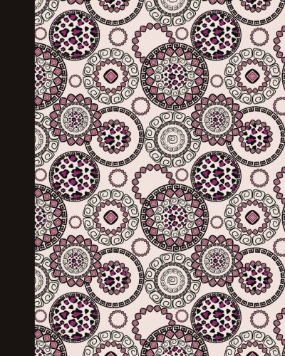 Sketch Journal: Animal Print Mandala (Rose and Pink) 8x10 - Pages are lightly lined with EXTRA WIDE RIGHT MARGINS for sketching, drawing, and writing (8x10 Mandala Design Side Sketch Journal Series)