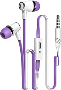 Candy Color Original Earphones with Microphone Super Bass Noodle Line Earbuds Headphones Headset for iPhone 6 6s Xiaomi Smartphone (Purple)