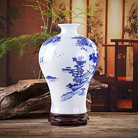 Jingdezhen Estufa Cerámica Azul Viento China Ornamentos Antiguos Jarrones Chinos Salón Artes Y Oficios Alto 34Cm En Las Montañas La Botella - Botella ...