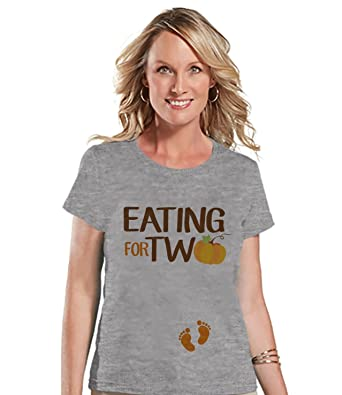 145392eaecbbe Custom Party Shop Womens Eating for Two Thanksgiving Pregnancy Announcement  T-shirt Small Grey