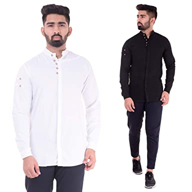 17e4f974c85 Swiss Navy Men s Combo Cotton Blend Black   White Casual Party Wear Shirt -  Pack of 2  Amazon.in  Clothing   Accessories