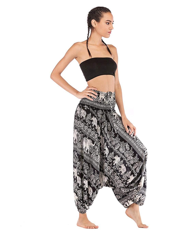 haoziuon Women Casual Big Crotch Bohemian Yoga Pants Loose Long Sport Jumpsuit Track Pants