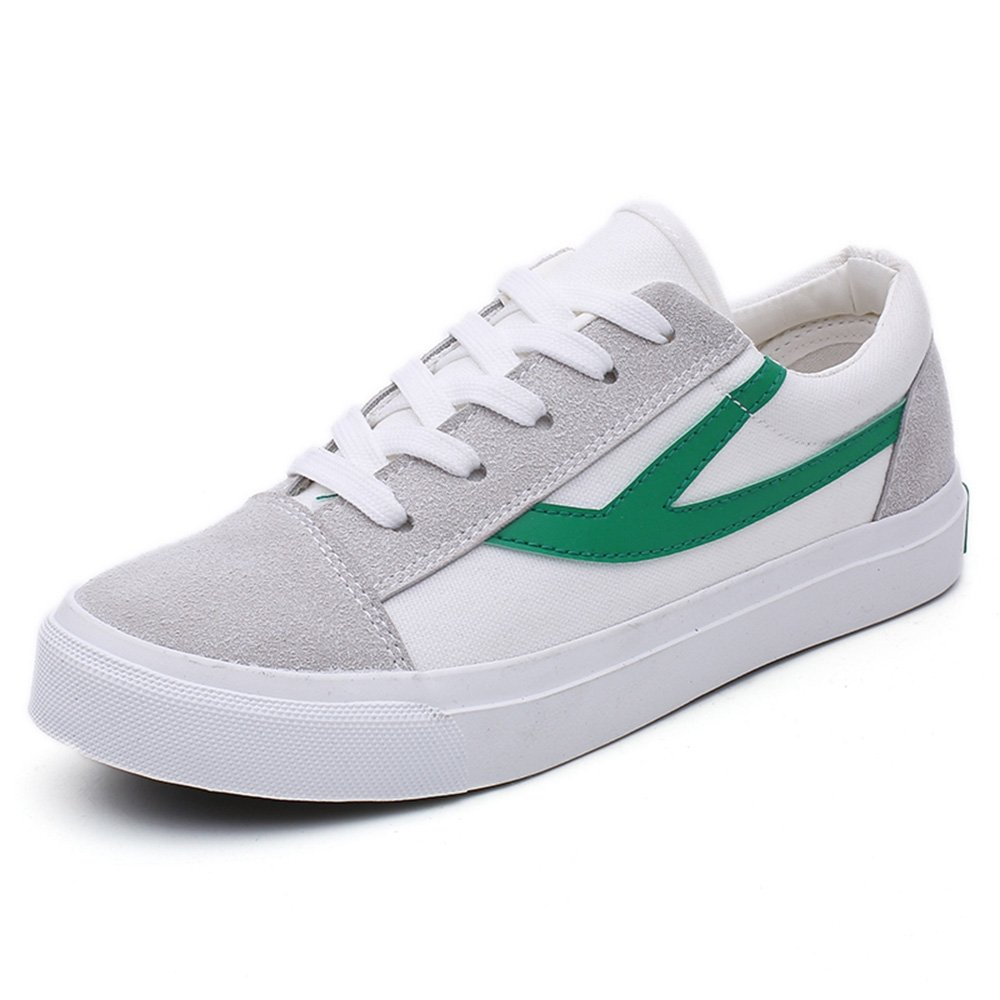 Womens Green White Canvas Lace up Style Skate Shoes Walking Comfortable Low Top Fashion Sneakers - Size 8