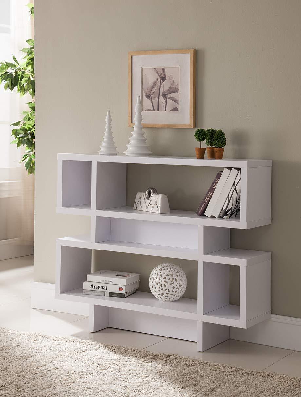 Major-Q 35' H Contemporary Style Modern Black 2-Tier Wooden Bookcase Sofa Console Display Cabinet Organizer Id90-29259