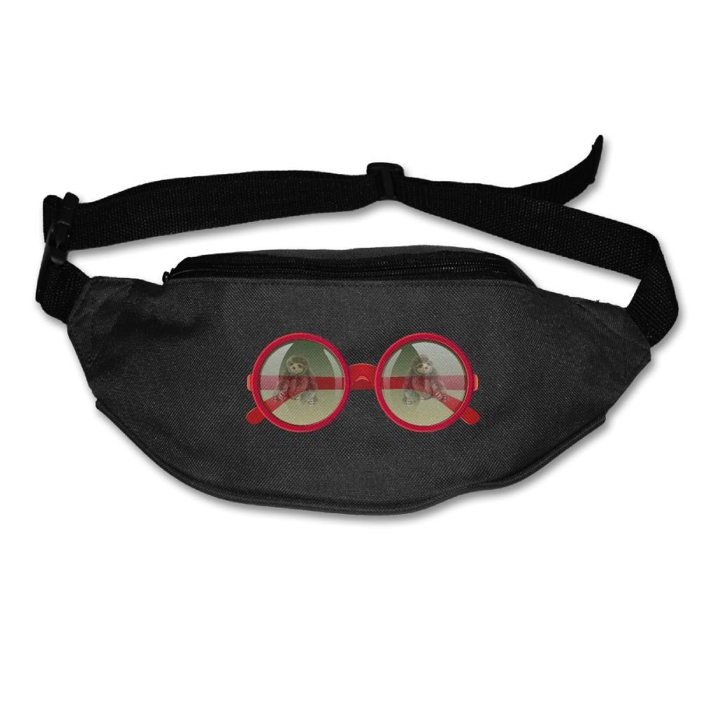 Janeither Unisex Pockets Book Sloth In Glasses Fanny Pack Waist/Bum Bag Adjustable Belt Bags Running Cycling Fishing Sport Waist Bags Black