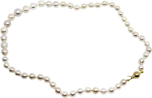 Collar de plata de ley con 51 perlas naturales australianas de 6 x 10 mm de diámetro con cierre de plata AG925