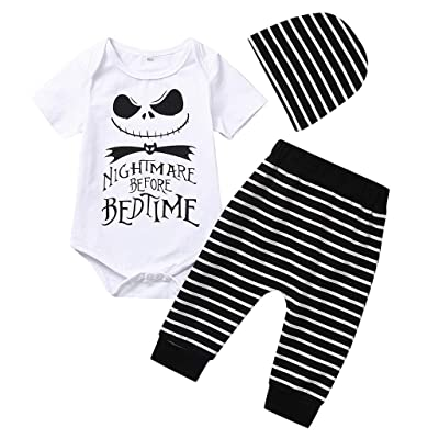 Halloween Costume Letter Printed Newborn Infant Baby Boy Striped Hooded Sweatshirt and Pants Nightmare Before Bed Time (6-12 Months, White and Black): Baby