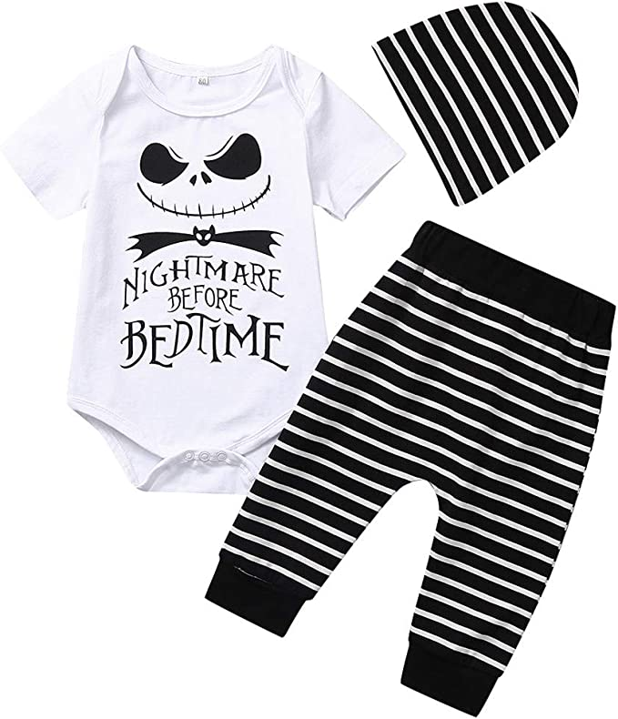 Dacestar Toddler Baby Boys Clothes 2PCs Outfit Set Nightmare Before Christmas Printing Long Sleeve and Pants Clothing Set Kids Clothes