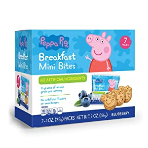 Peppa Pig Blueberry Breakfast Bites Snack Box for Kids Healthy Snacks, Birthday Party Supplies and School Lunches, 1 oz bags, Snack Pack of 7
