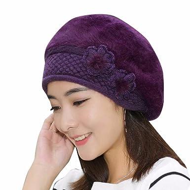 Barette Damen Dorame Frauen Mode Blume Stricken Hüte Häkeln Beanie